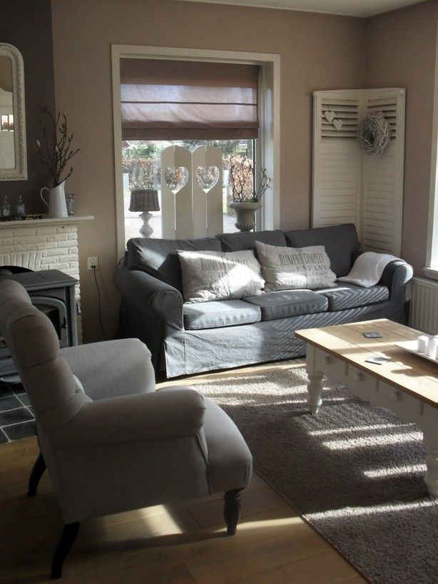 Deze stijl is zóóóóó leuk!! En weer een prachtig voorbeeld van grijs met beige/bruine kleuren gecombineerd.