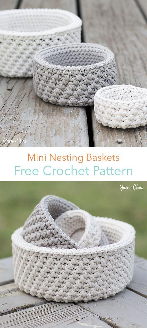 Mini Nesting Baskets Free Crochet Pattern | Proyectos que debo ...