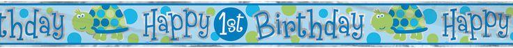 1st Birthday Boy ''Turtle'' Happy Birthday Banner by ElsaPartySupply on Etsy