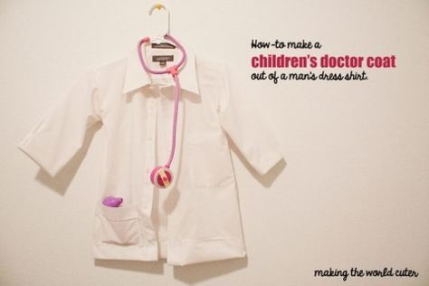 How to Make a Children's Doctor Coat out of a Man's Dress Shirt-repurpose oxford