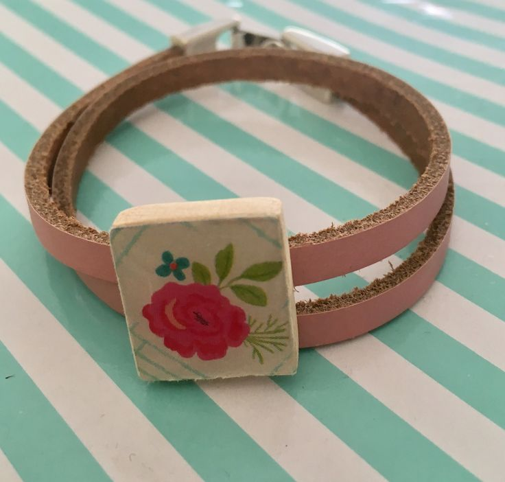 Armband plat leer scrabble letter schuiver bracelet