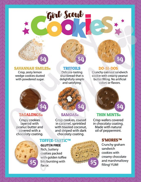 Listing is for one printable Girl Scout Cookie menu design with prices $4-$5 a box. File is not editable. Please review menu carefully before making purchase as cookies and prices varies in different areas. You will receive one 8.5 x 11 instant download following payment. Purchase, download one time and print as many times as you need. Design is not for resale, for personal use only. Note: Watermark will be removed off design after purchase  Size : 8.5 x 11 PRINTER SETTINGS: Use either…