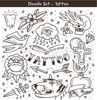 Dimonds Tattoo : Clipart vectoriel : old school tattoo doodle set