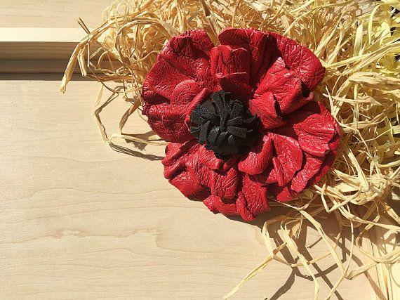 Leather brooch Red poppy flower brooch Brooch clip leather