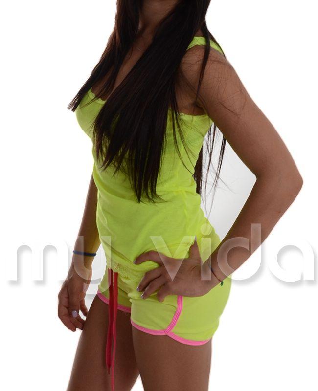 GIALLO / ROSA FLUO - #Shorts donna sportivi. #Pantaloncini estivi in misto cotone tuta #fitness