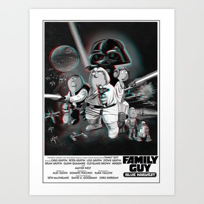 Family Guy 3D Blue Harvest Poster - Totally Unique Art Print by Particularly Peculiar - $17.68  #familyguy #3d #starwars