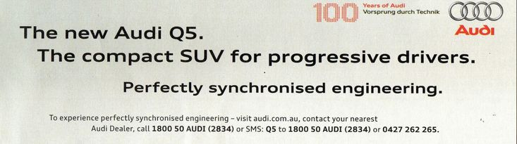 2009 AUDI Q5 - Australia, Page TWO of TWO. 100 years of AUDI.