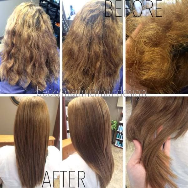 Due to hard water damage, this clients color was bright and brassy, and her hair felt like straw! After doing a Malibu Hard Water Treatment, we toned her color down with Kenra color, adding Olaplex into the entire formula, allowing her hair to look and feel so much healthier with brilliant shine!
