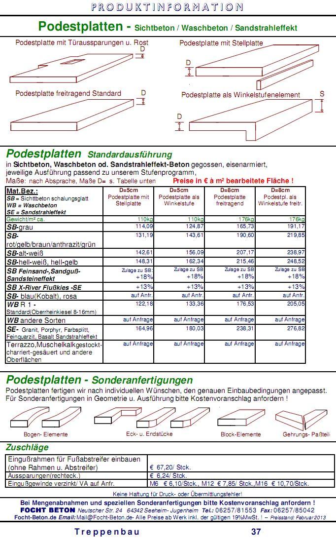 Podestplatten Sichtbeton Waschbeton Sandstrahleffekt Betonwerkstein Sonderanfertigung Preisliste