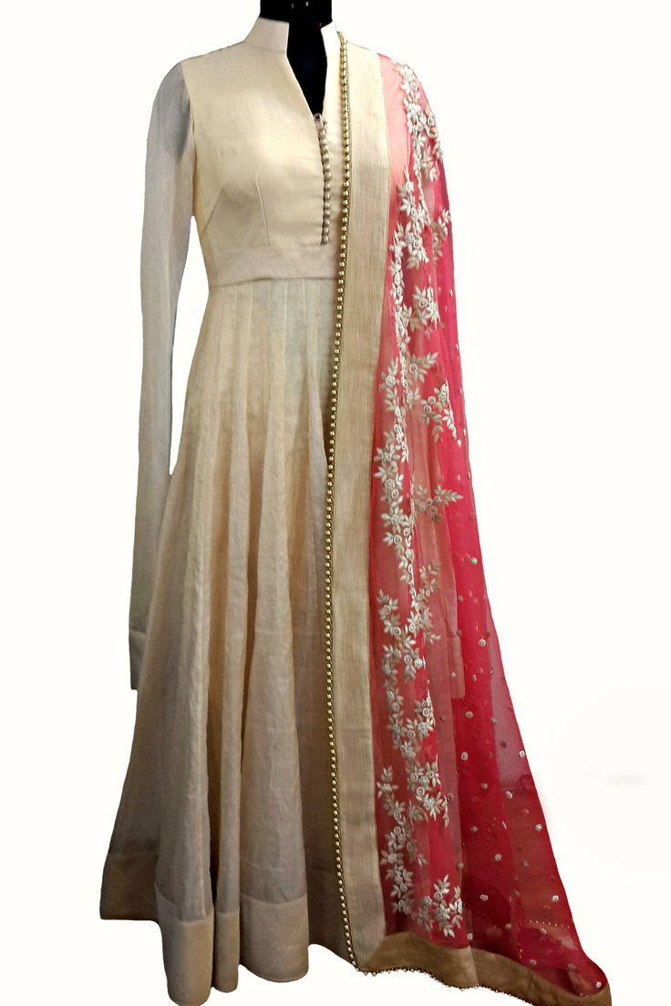 Floral-appliquéd silk 'Atusa' anarkali — WaliaJones #anarkali #indianfashion #ifeanddeepak