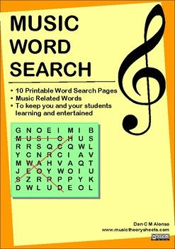 Who doesn't love a good word search? Stuck on ideas to keep your students busy and entertained? Appropriate for ages 5+ ****************************************************************************************** Download this booklet of 10 Musical Themed word searches. ******************************************************************************************