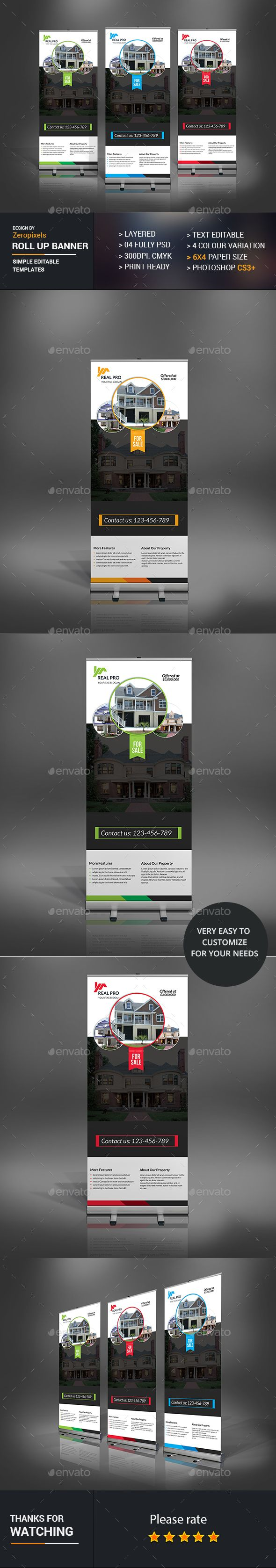 Real Estate Roll Up Banner Design Template - Signage Print Template PSD. Download here: http://graphicriver.net/item/real-estate-roll-up-banner-/16888508?s_rank=64&ref=yinkira