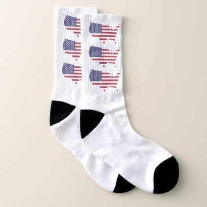 Patriotic American flag Socks - red gifts color style cyo diy personalize unique
