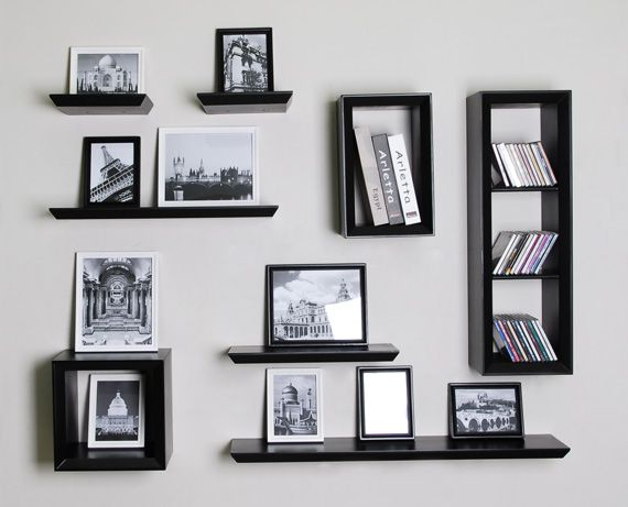 Floating wall shelves are good for displaying small articles rather than heavy storage due to the thin construction.