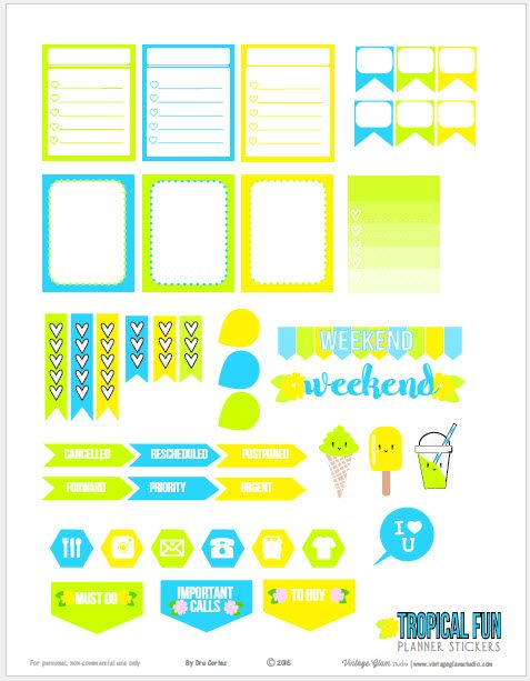 Free printable download of bright hued planner stickers suitable for vertical weekly planners and other types of papercrafting. Free for personal use only.