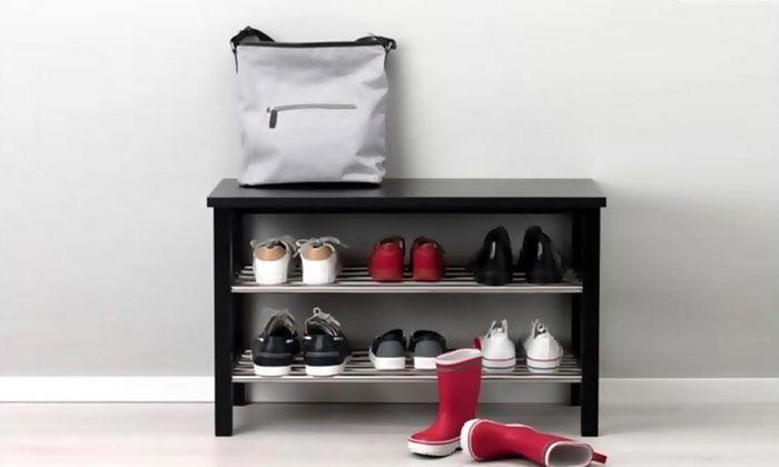 Zapatera con barras de aluminio, fabricada en melamine y con capacidad para 9 pares de zapatos