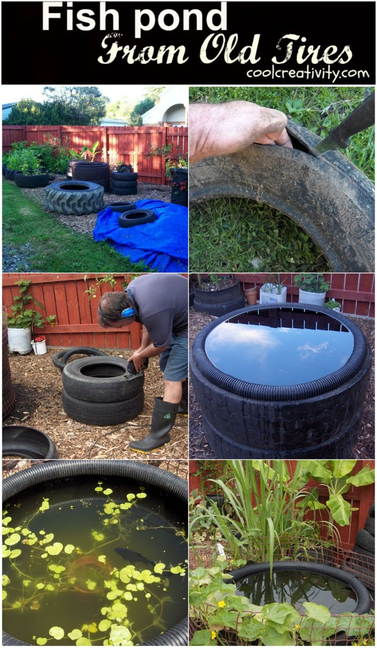 diy decorative fish pond from old car tires - Garden Ideas Using Tyres