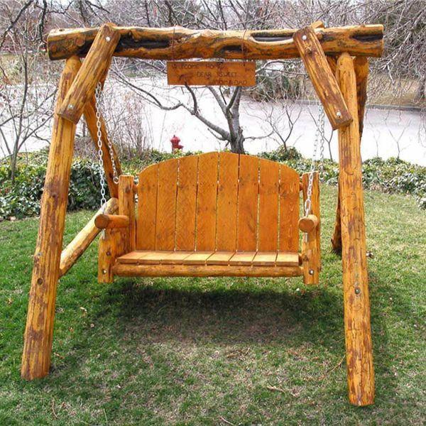 Log Furniture Rustic Aspen Porch Swing Rustic outdoor