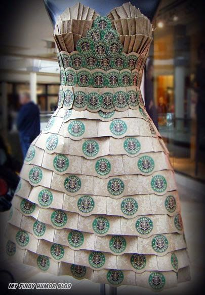 Far-Out Fashions #6: Starbucks Coffee Dress | Unexpected Moments of Life - Over 8 pieces of fashion made from unique & unusual materials