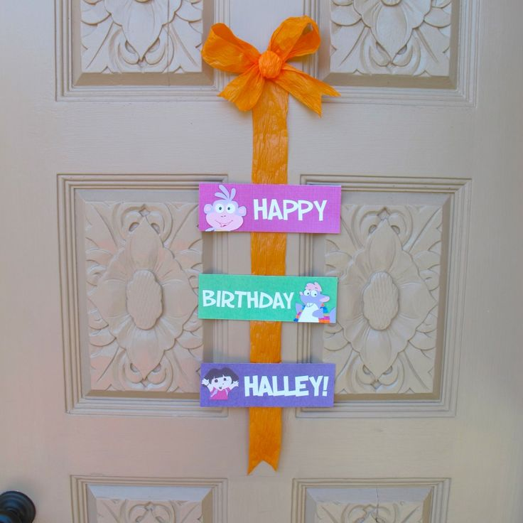 sign for front door at Dora Party
