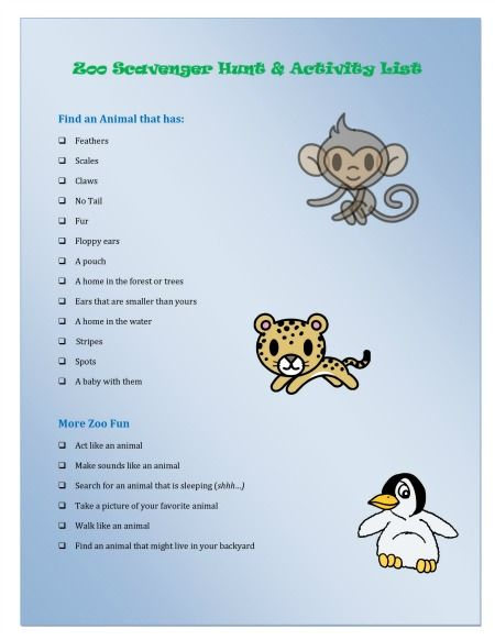 {Zoo Scavenger Hunt & Wild Animal Activities} free printable hunt to take on your zoo visit plus16 great books about the zoo!