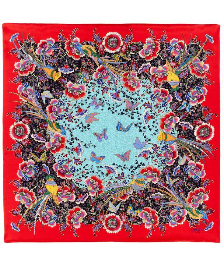 Liberty London Red Paradise Garden Silk Scarf   Scarves   Liberty.co.uk