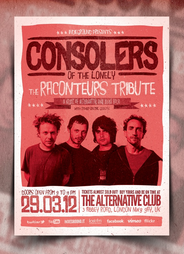 """Consolers of the Lonely"" – This flyer was designed to promote an Alternative / Indie Rock / Garage / Pop / Electro / Underground music event, such as a gig, concert, festival, party or weekly event in a music club and other kind of special evenings. This poster can also be used for a band's new album promotion and other advertising purposes."