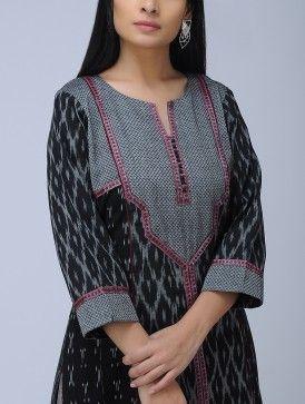 Black-Grey Round Neck Paneled Ikat Cotton Kurta