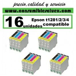 PACK 16 CARTUCHOS COMPATIBLES EPSON T1281/2/3/4 A ELEGIR COLOR