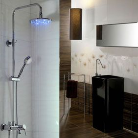 Contemporary Color Changing LED Shower Faucet with 8 inch Shower Head + Hand…