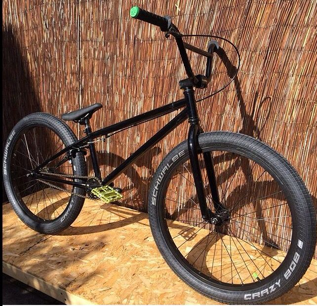 My Dirt jump, park and street beast. Haro Downtown 24 inch BMX cruiser. Schwalbe crazy Bob tyres. Welgo pedals.