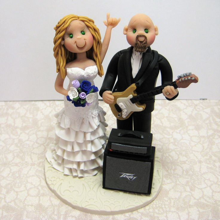 Reserved for Kim  balance due for a custom Rock n Roll music Wedding Cake Topper by clayinaround on Etsy