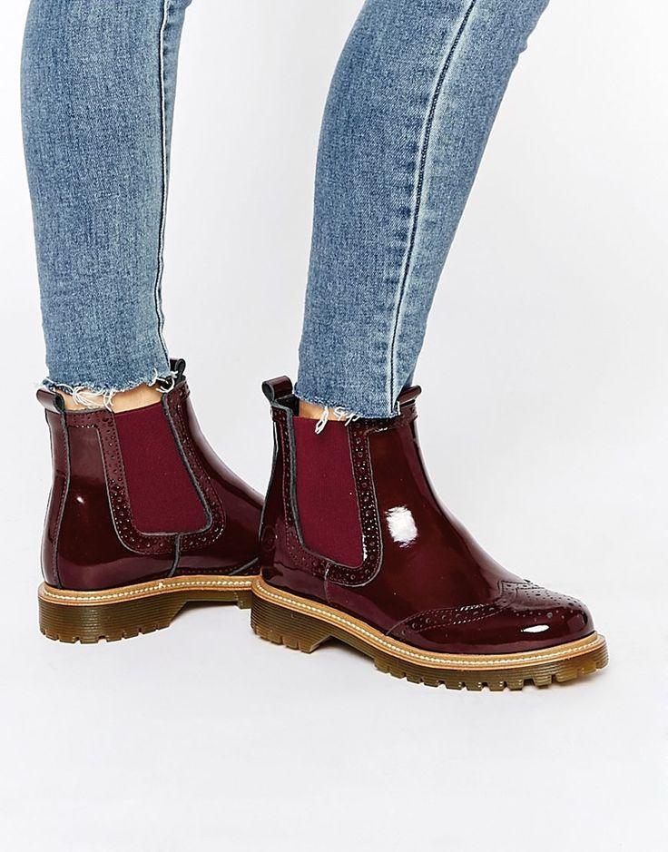 Bronx // Bordeau Leather Patent Chelsea Boots