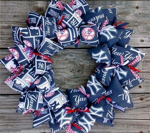 Yankees Man Cave Decor : New york yankees baseball fan handmade fabric wreath door