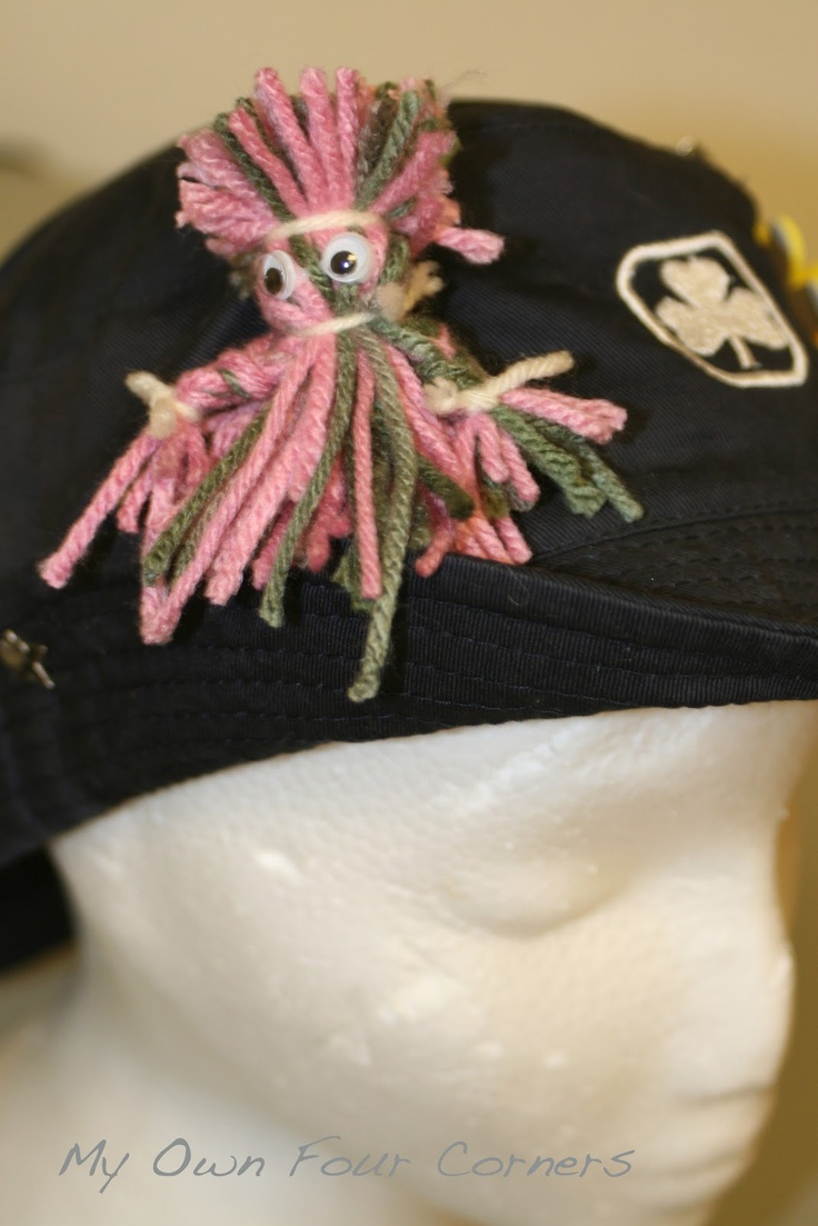 My Own Four Corners: Girl Guide camp hat craft - Yarn doll