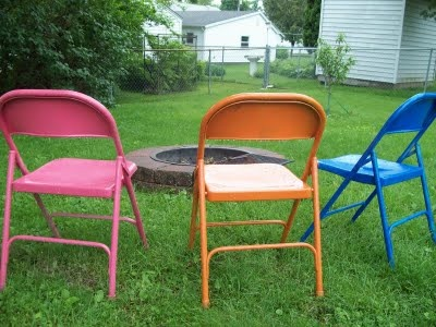 This Would Look So Much Happier Than Gray When We Have Company And Pull Out  The · Painted Metal ChairsOld ...