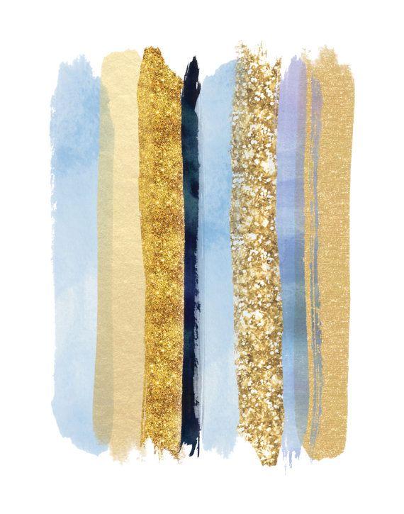 Arte de la pared Girly Vestido de azul y oro de impresión