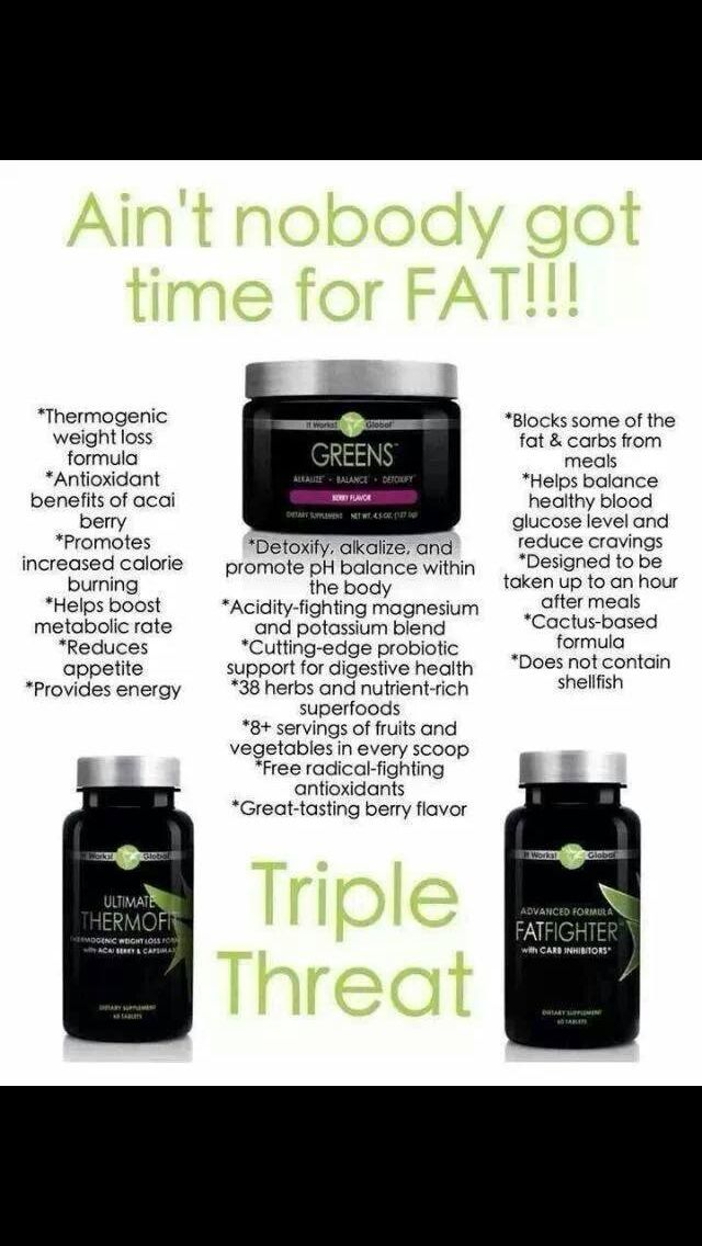 It Works, Greens, Thermofit and Fat Fighters. Http://pamperingbylauren.myitworks.com Call or text 309-253-4046