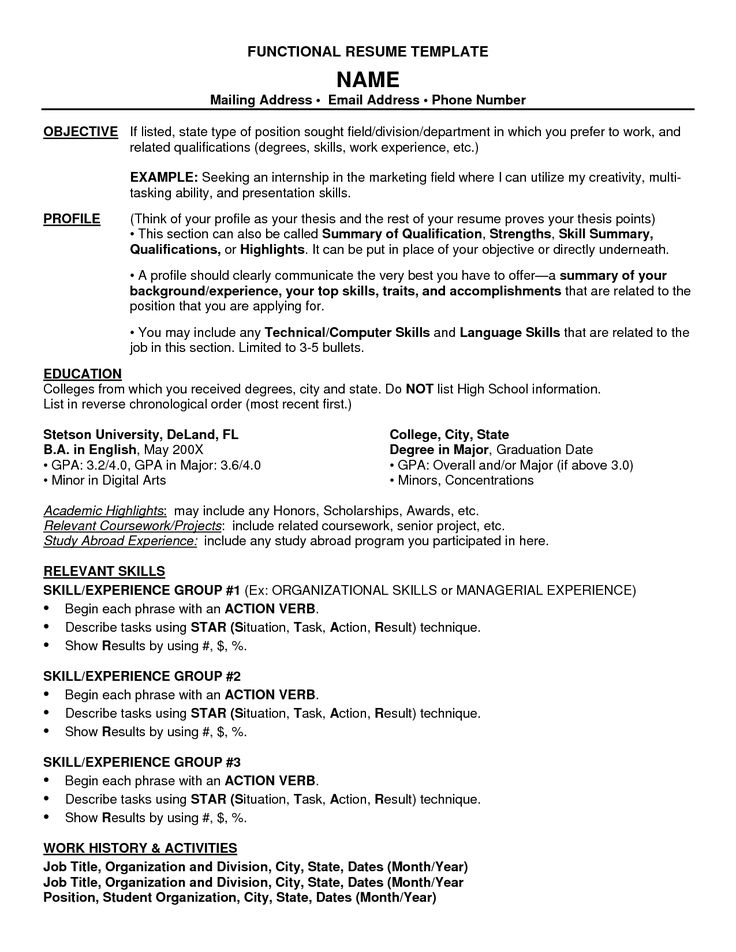 functional resumes templates resume and builder template free - Example Of A Functional Resume