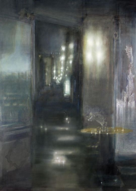 Marina Karella (Greek, b. 1940), Gold as Sulphur/Coffee shop, 1993. Oil on canvas, 202 x 145 cm.