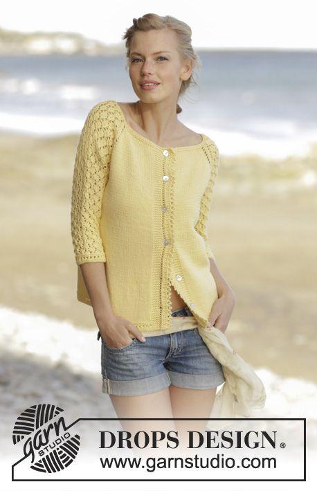 Honey Blossom Cardigan / DROPS 176-9 - Raglánový propínací svetr s ažurovým vzorem a ¾ rukávy pletený shora dolů z příze DROPS Merino Extra Fine. Velikost: S-XXXL.