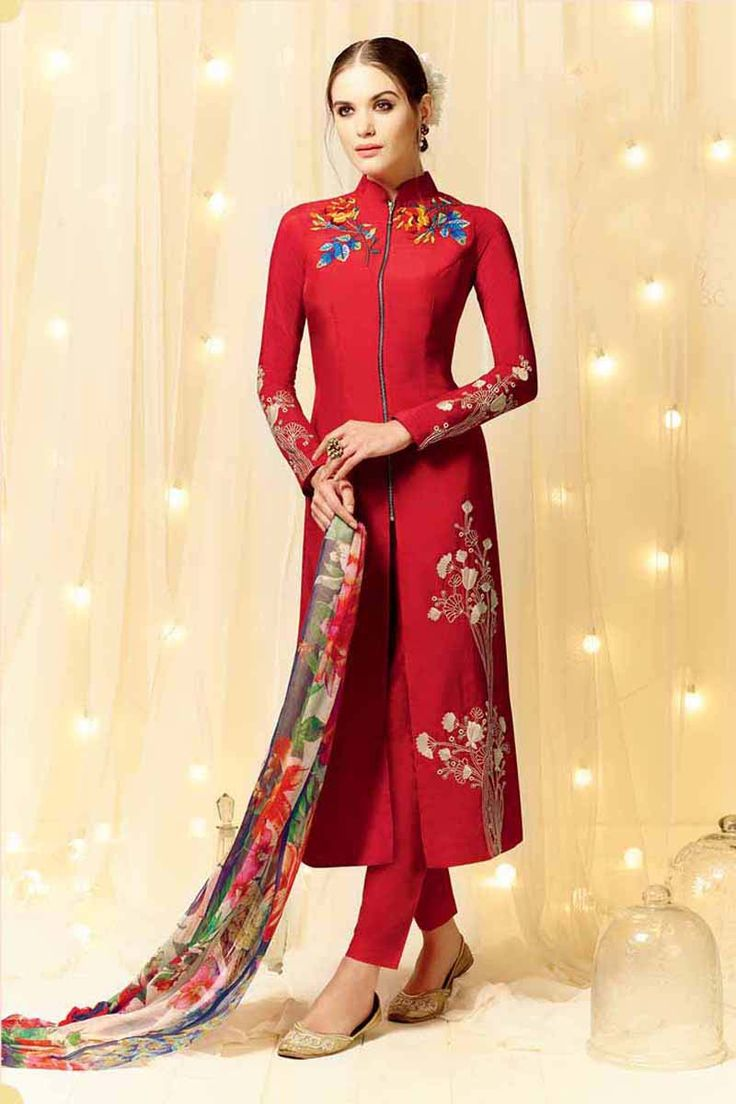 Red Cotton Party Wear Salwar Kameez