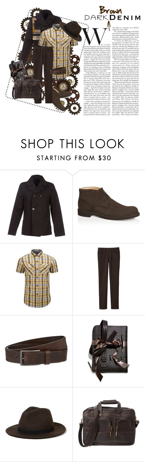 Dark Brown Denim by bella0678 on Polyvore featuring Uniqlo, M.GRIFONI DENIM, Tod's, Hollister Co., Dunhill, Burberry, HUGO, men's fashion, menswear and darkdenim