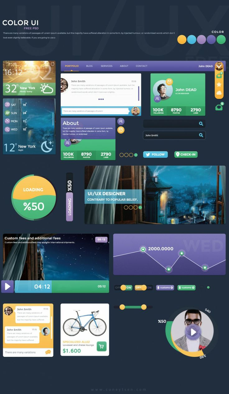 #Free #Color #UI Kit, #Chart, #Comments, #Dropdown, #Graph, #Loading, #Menu, #Navigation, #Player, #Profile, #Progress, #PSD, #Resource, #Search_Field, #Slider, #Switch, #Tag, #Toggle, #Weather, #Widget