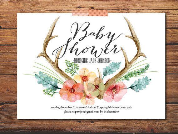 Baby Shower Invite  Baby Girl Invite  Antler by PrintableQuirks