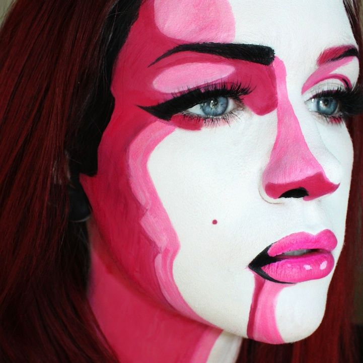 10 More Incredible Halloween Makeup Transformations..i kind of want to be pop art girl.