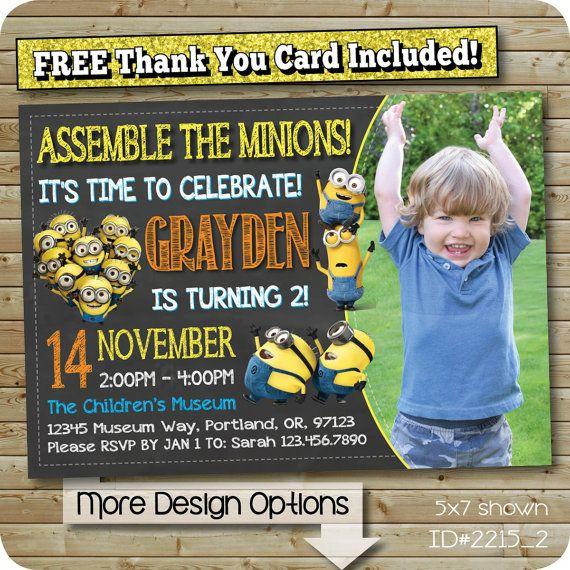 Minion Invitation, Minions Birthday Invite, Despicable Me Party, Custom Photo Invitations, Digital Design (You Print Invites) #2215