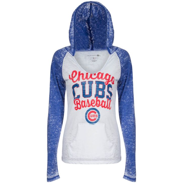 Chicago Cubs Women's Royal and White Burn Out Hooded Long Sleeve Shirt by 5th & Ocean #Chicago #Cubs #ChicagoCubs