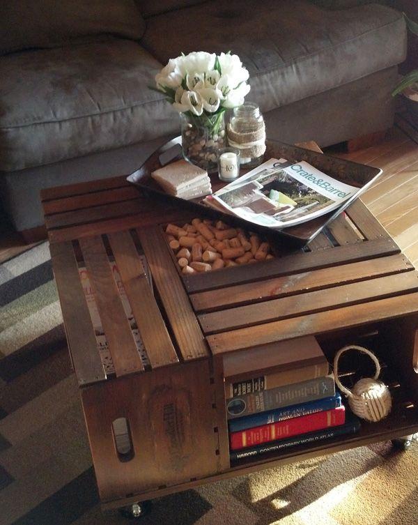 Поделки для дома - винтажный журнальный столик из деревянных ящиков