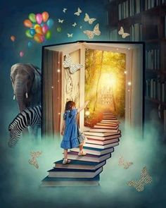 little girl walking into book - Google Search